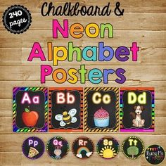 Alphabet Letter Posters and Word Wall Labels, Chalkboard & NEON Neon Classroom Decor, Preschool Classroom Decor, Classroom Themes, Preschool Activities, Alphabet Wall Cards, Alphabet And Numbers, Alphabet Posters, Word Wall Labels, Writing Posters