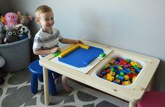 Build a Lego table for the nursery: DIY ideas for a great game table Diy Lego, Lego Lego, Lego Batman, Lego Table Ikea, Kids Play Table, Classic Lego, Kids Stool, Sensory Table, Sensory Play