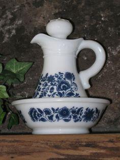 Avon Milk Glass Pitcher Bowl Delft Blue Pattern 1970s w/SSS bath oil 12.00-22.00   eBay