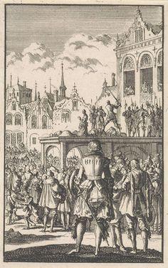 Jan Luyken   Onthoofding van de graven Egmond en Horne, 1567, Jan Luyken, 1699   De graven Egmond en Horne worden samen met andere edelen op de Grote Markt van Brussel met het zwaard onthoofd op bevel van de hertog van Alva. Een menigte heeft zich rond het schavot verzameld.