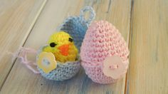 (crochet - part 2 of 2) How To Crochet a Mini Chick & Egg - Yarn Scrap F...