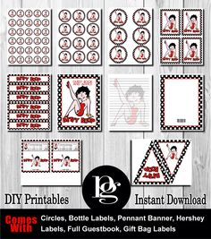 Betty Boop Printable Party Kit - DIY - $14.95 - Betty Boop party favors - Betty Boop decorations - Betty Boop party supplies - Betty Boop theme - Betty Boop decor - Betty Boop party package - Betty Boop party kit - Betty Boop Hershey labels - Betty Boop guestbook - Betty Boop bottle labels - Betty Boop pennant flags - Betty Boop stickers - Betty Boop tags - matchmypartytheme.com and platinumgraphics.etsy.com