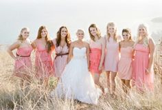 Another great example of bridesmaids picking the style that works for them!  weddingsbylilly.com - stylemepretty.com
