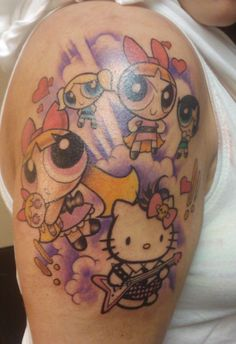 Hello Kitty and Powerpuff Girls tattoo Nerdy Tattoos, Cartoon Tattoos, Disney Tattoos, Body Art Tattoos, Girl Tattoos, Tatoos, Thigh Tattoos, Tattoo Foto, I Tattoo