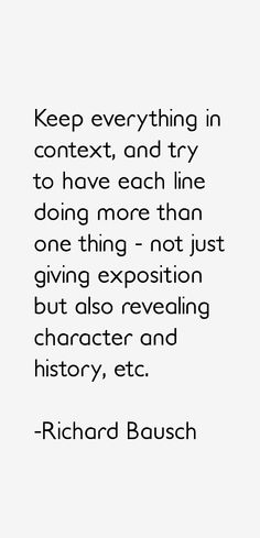 Richard Bausch #writing