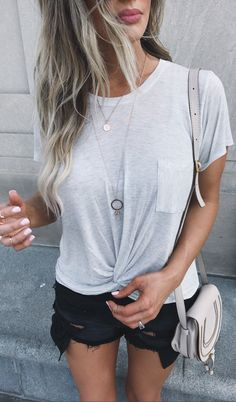 #summer #outfits  White Tee + Black Ripped Denim Short + Grey Leather Shoulder Bag
