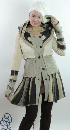 Toupe Tan Cream Button Front Hood Sweater Coat by Donadian on Etsy