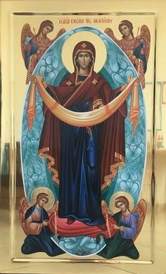 The Holy Protection of the Theotokos. Byzantine Icons, Byzantine Art, Religious Icons, Religious Art, Assumption Of Mary, Church Icon, Russian Icons, Religious Paintings, Jesus Art