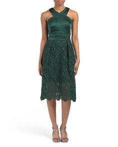 Silk Blend Satin Top Dress With Lace Skirt