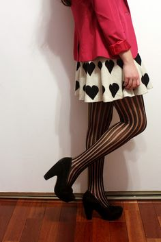 The very cute sweets and hearts styled out our AMPERSAND heels in black. We love this outfit!