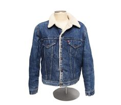 8214211e1078 men's vintage Levis denim sherpa trucker snap button jacket retro coat sz  46R