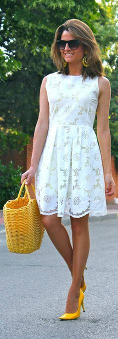 I like this high waisted style dress. I'd like the dress just below the knees, with a lightweight 3/4 length sweater.