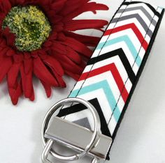 Red Gray Aqua Chevron Fabric Key fob by SewMuchDetail on Etsy, $6.50