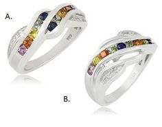 $17.99 - Choice of Multi-Gemstone Diamond Ring or Multi-Gemstone Diamond Accent Ring in Sterling Silver