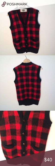 Men's Saratoga Buffalo Plaid 100% Wool Vest Red Thanks for stopping by! This men's Saratoga by Robert Peritz Buffalo Plaid red and black vest is 100% wool and could be yours! Size medium. Great for cold weather! Saratoga Jackets & Coats Vests