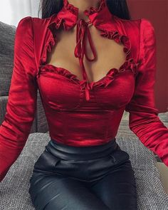 Women Cutness Bow Tie Neck Chest Cut Out Top Blouse Long Sleeve V Neck Ruffles Sweet Tops Women Shirt Blouse Classy Outfits, Casual Outfits, Summer Outfits, Trend Fashion, Womens Fashion, Mode Outfits, Fashion Outfits, Punk Fashion, Lolita Fashion