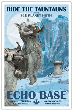 Hoth Travel Poster - Echo Base via KnerdKraft. Click on the image to see more!