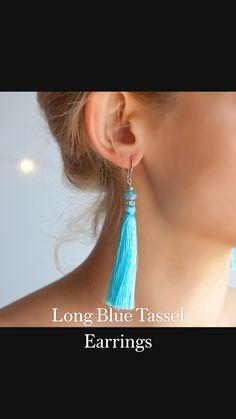 Blue Tassel Earrings, Cute Earrings, Bridal Earrings, Boho Earrings, Statement Earrings, Earrings Handmade, Diy Jewelry, Women Jewelry, Beginner Sewing Patterns