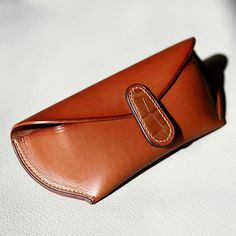 Handmade Buttero Leather sunglasses case with croc detail. #leather…