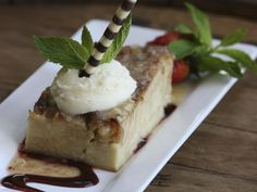 Bread pudding with bourbon sauce | Derby Cafe