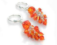 Fire Opal Swarovski Crystal Cluster Dangle Earrings by GemsdeVine, $24.99
