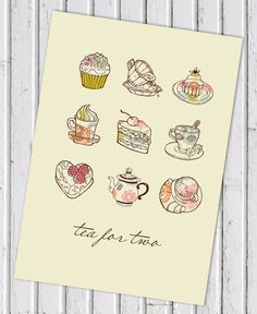 Tea for Two A3 digital print for kitchen or home. $20.00, www.cocobluecreative.com A3, Digital Prints, Unique Jewelry, Creative, Handmade Gifts, Kitchen, Blue, Etsy, Vintage