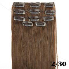 5pcs/set, light brown straight synthetic hair extension, plumas para el pelo, clip in hair extensions, color 2/30