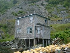 building in deserted newfoundland fishing village, used now by locals as a fishing shack Newfoundland And Labrador, Fishing Shack, Small Tiny House, Atlantic Canada, O Canada, Largest Countries, Fishing Villages, Newfoundland, Travel