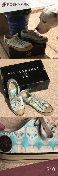 Used Thomas Wilde Skull sneakers-Aqua Used Paula Thomas for TW. Aqua Skull sneakers. Size 7. Fits true to size. Thomas Wylde  Shoes Sneakers