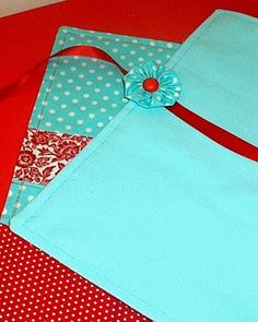 Red and aqua needle roll