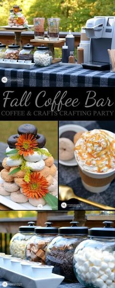 Create a fall coffee bar to enjoy with friends this season! Complete with donuts & your favorite coffee flavors! Coffee Bar Party, Coffee Themed Party, Coffee Bar Wedding, Fall Party Ideas, Fall Party Foods, Bar Drinks, Drink Bar, Hot Chocolate Bars, Starbucks Birthday Party