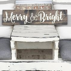 Christmas Wall Decor - Merry and Bright - Wooden Sign - Rustic Sign - Farm House - Christmas