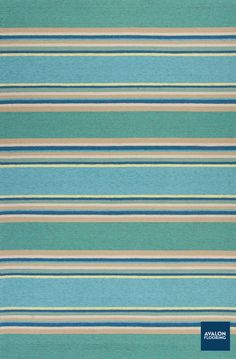 "Trendy & Casual are the perfect words to describe the Harbor Indoor/Outdoor Area Rug in Ocean Stripes. Available in 2x3, 5x7, 3x5, 7' 6"" Round, and 8x10 (approx sizes)."