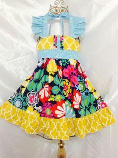 Girls Royal blue Ellie Halter Dress Size 5 Handmade; Everyday Use 100% cotton #Handmade #Everyday