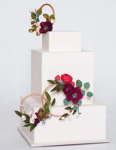 Modern Wedding Cakes boho square wedding cake from Ron Ben-Israel Cake Square Wedding Cakes, Floral Wedding Cakes, Square Cakes, White Wedding Cakes, Elegant Wedding Cakes, Beautiful Wedding Cakes, Wedding Cake Designs, Beautiful Cakes, Trendy Wedding