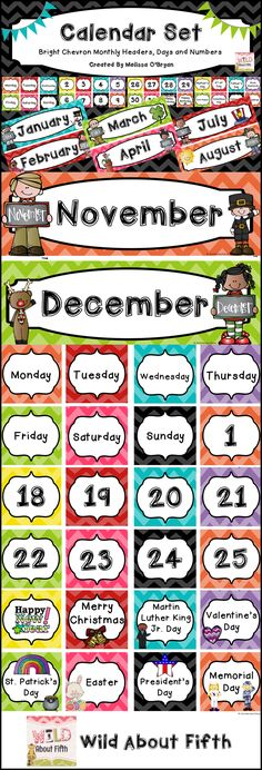 Brand new year - Brand new calendar set!! Brighten up your classroom with this chevron décor calendar set - will last for years. Lose or rip a piece? Just reprint. Need more holidays? Just reprint. Matches perfectly with all of the items in my classroom décor line. $ #wildaboutfifthgrade