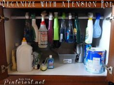 Organize closets, areas under sinks and more with a tension rod.