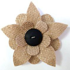 Burlap Flower Magnet by UpcycledFlowers on Etsy