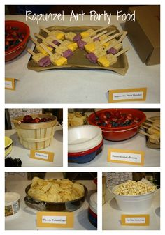 Rapunzel + Tangled Art Party- Food!- Rice Krispie Treat Paint Brushes, Maximus' Apples, Mother Gothel's Berries, Flynn's Potato Chips (served in Frying Pan), Pub Thug Kettle Corn