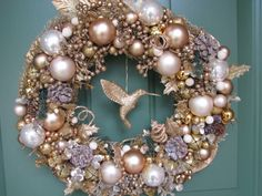 Large Gorgeous Gold Christmas Wreath, Glitter Wreath, Holiday Wreath, Christmas Wreath, Gold Wreath