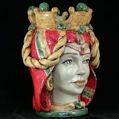 Teste di Moro Caltagirone. Ceramics of Sicily Shop www.ceramichesiciliane.online Ceramic Pottery, Pottery Art, Take The Fall, Moorish, Sicilian, Tile Art, Occult, Satan, Bonsai