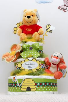 Winnie the pooh themed Diaper cake