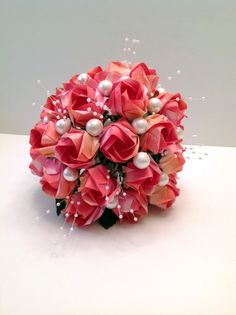 Origami Paper Wedding Flower Bouquet by FancyWhatNots on Etsy, $55.00