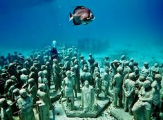 Heading on a dive trip to Cancun? Don't miss the new underwater sculpture garden Silent Evolution created by renowned sculptor Jason de Caires Taylor. This amazing exhibit features more than 400 life-size statues and covers an area of more than 150 square meters