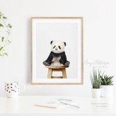 Baby Panda Sitting On Stool Art Print Woodland Animal Panda   Etsy