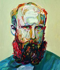 "Aaron Smith,  ""Buck"",  Issue 103 page 130  oil on panel  28"" x 24""   I thought this was a great distorted portrait. Although the face is very clear and proportioned, the colors he used aren't what you would typically see in a portrait painting.  I also like the thickness of paint used and  the loose brush strokes ."