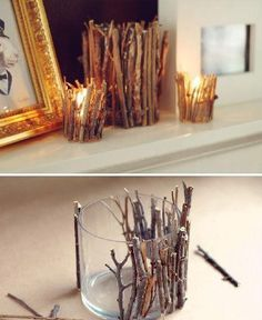 Fall candle holders. so easy yet chic.