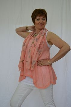 510e363165abb Funky Two Piece  T-shirt underlay and fine net overlay with complimentary  floral scarf from Mandy s Heaven - Women s Fashion Boutique - Fashion Over  40