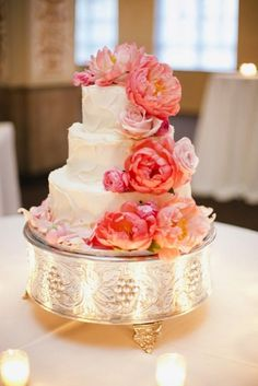 a happy marriage of wedding cake and coral peonies by http://www.kippcakes.com/site/  Photography By / asianbeesphotography.com