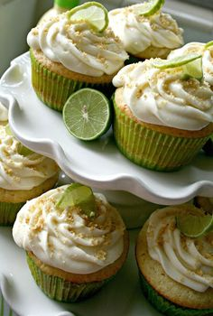 The Nifty Cupcake: Key Lime Pie Cupcakes with filling and graham cracker crumbs on the bottom.